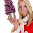 Beautiful Young Happy Christmas Woman over white — Stock Photo #8111397
