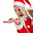 Beautiful Young Happy Christmas Woman over white — Stock Photo #8111404