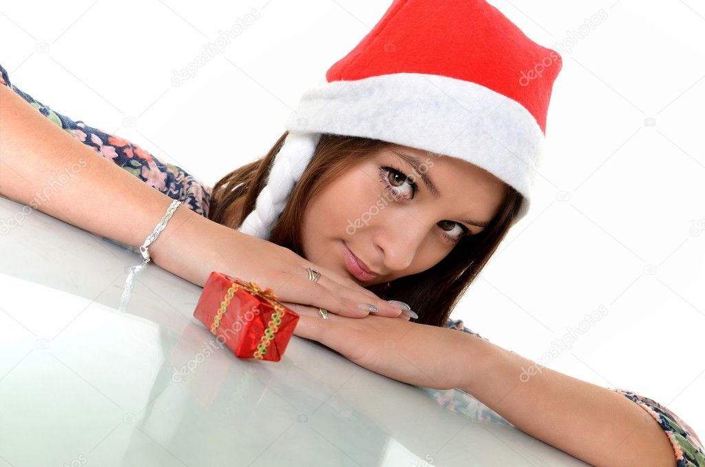 Beautiful Young Happy Christmas Woman over white   Stock Photo #8111525