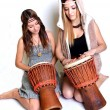 Stock Photo: Two girls with bongo