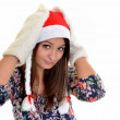 Woman christmas young beautiful smiling with santa's hat — Stock Photo