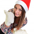 Woman christmas young beautiful smiling with santa's hat — Stock Photo #8147251