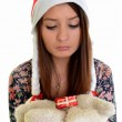 Woman christmas young beautiful smiling with santa's hat — Stock Photo #8147254