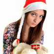 Woman christmas young beautiful smiling with santa's hat — Stock Photo #8147259