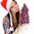 Woman christmas young beautiful smiling with santa's hat — Stock Photo #8147262