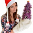 Woman christmas young beautiful smiling with santa's hat — Stock Photo #8147263