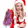 Beautiful and sexy blonde woman wearing santa clause costume on white — Stock Photo