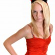 Sexy blond devil woman — Stock Photo