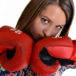 Close up of female boxer over white — Foto de stock #8274491