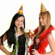 Two beautiful women celebrate — Stock Photo