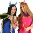 Two beautiful women celebrate — Stock Photo #8350838