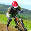 Professional bicycle downhill final competition — Stock Photo