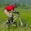 Stock Photo: Professional bicycle downhill final competition