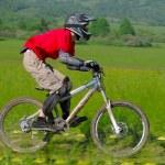 professionelle Fahrrad-downhill-final-Wettbewerb — Stockfoto #8489313