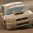 Постер, плакат: Rally car passing on a mud track