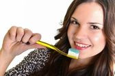 Beautiful Girl Brushing her Teeth — Stock Photo