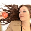 Young beautiful girl with apple — Stok fotoğraf