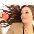 Young beautiful girl with apple - Stok fotoğraf