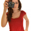 Woman With camera over white background — Stock Photo