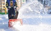 Snowblower in action — Stock Photo