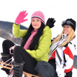 Young women with sled — Stock Photo