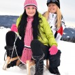 Young women with sled — Stock Photo #8874537