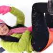 Young woman with sled - Stock Photo