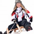 Girl sledding — Foto de Stock