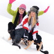 Girls sledding — Foto de Stock