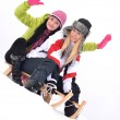 Girls sledding — 图库照片
