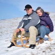Down syndrome couple sledding — Stock Photo #8889252