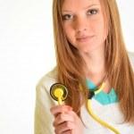 Portrait of happy successful female doctor — Stock Photo