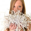 Woman with shredded paper — Photo