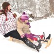 Mother and daughter sledging, nice winter scene — Stock Photo #9058058
