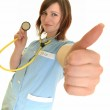Smiling medical doctor woman with stethoscope. Isolated over white backgrou — Stock Photo