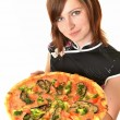 Portrait of young woman with pizza — Stock Photo