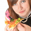 Portrait of young woman with pizza isolated on white — Stock Photo #9157134