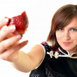Young woman with strawberry. — Stock Photo #9183959
