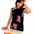 Young woman eating fast food — Stock Photo #9183974