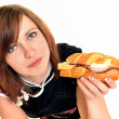 Young woman eating fast food — Stock Photo #9183976