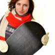 Sexy woman with snowboard — Stock Photo #9184037