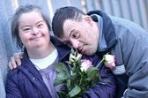 Down syndrome love — Stock Photo