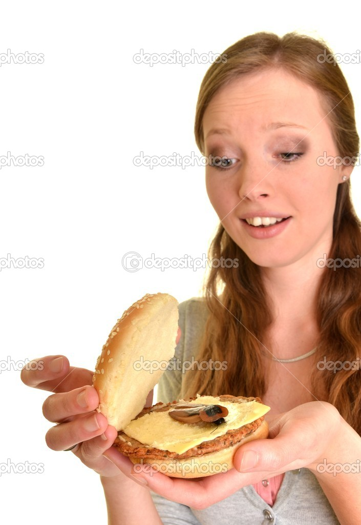 Surprised woman with burger with cockroach   Stock Photo #9341810
