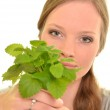 Woman with mint — Stock Photo