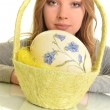 Portrait of sexy fashion model holding Easter eggs — Stock Photo #9685765