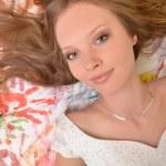 Teen girl beautiful cheerful enjoying isolated on white background — Stock Photo