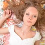 Teen girl beautiful cheerful enjoying isolated on white background — Stock Photo #9788872