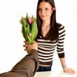 Woman receives flowers — Stock Photo