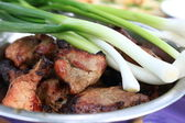 The meat and green onions — Stock Photo