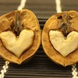 Two nuts with abstract hearts for Valentine's Day - Foto Stock